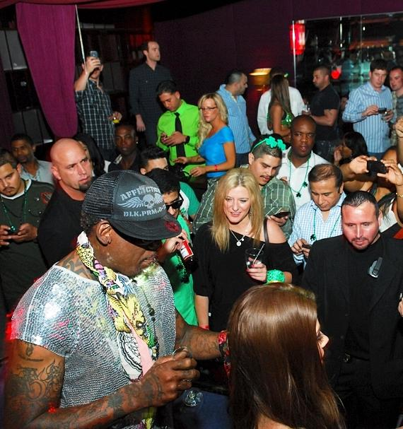 Dennis Rodman with fans inside Tabú Ultra Lounge at MGM Grand