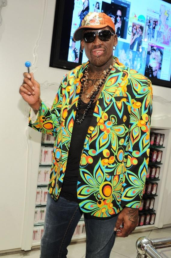 Dennis Rodman with Sugar Factory's famous Couture Pop