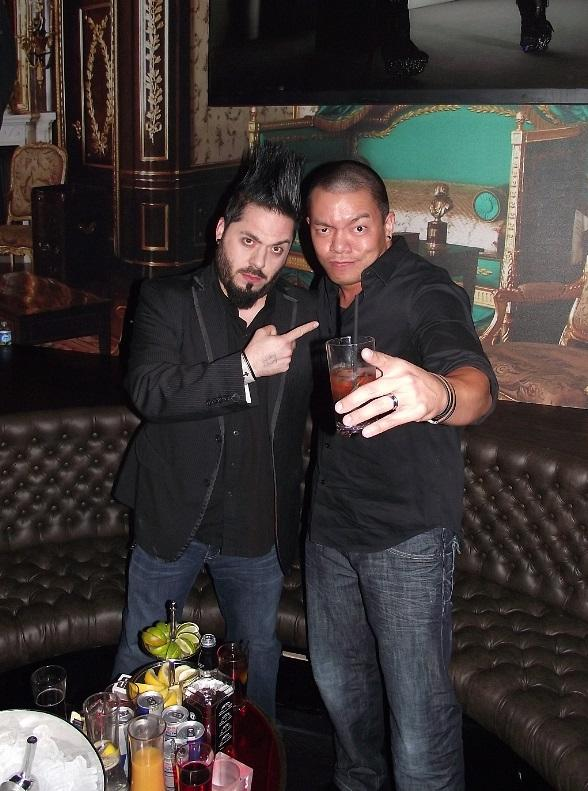 Destin Pfaff, with a friend, celebrating his bachelor party at Gallery Nightclub in Las Vegas