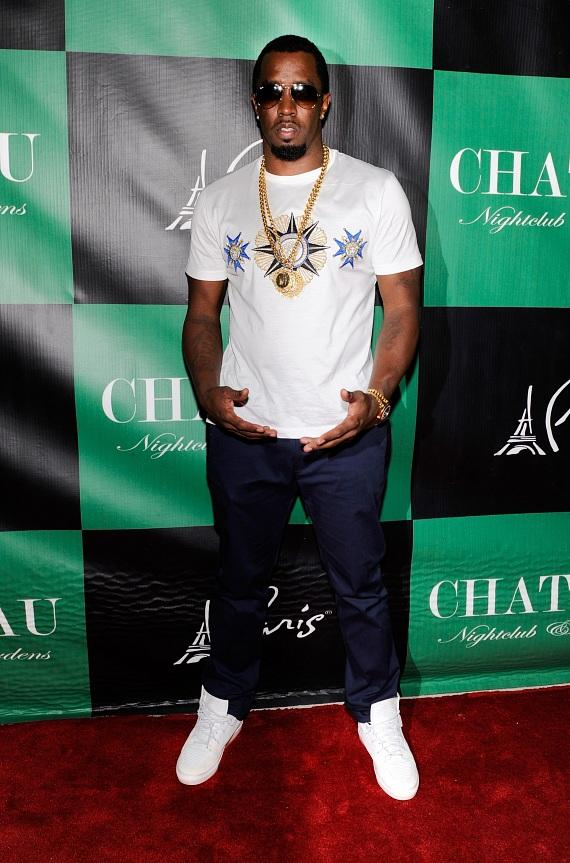 Diddy poses on the Red Carpet at Chateau Nightclub & Gardens