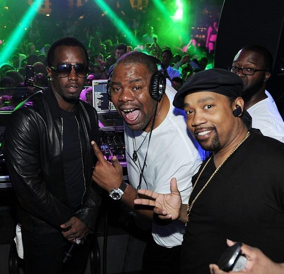 P Diddy, DJ Biz Markie and Cool V during the Black & White Affair Memorial Day Weekend party at Chateau Nightclub & Gardens in Las Vegas
