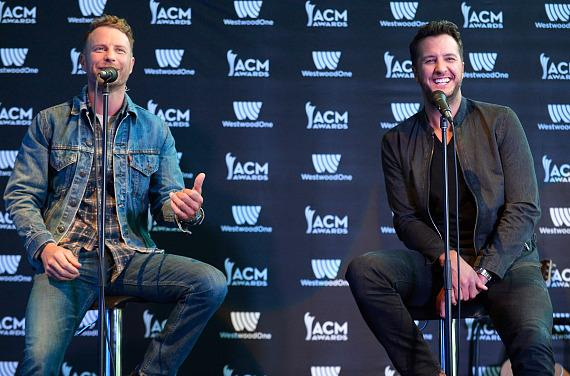 Dierks Bentley (L) and Luke Bryan attend the 52nd ACM Awards Host Press Conference
