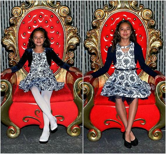 Keena and Kayla pose in Santa's Golden Throne