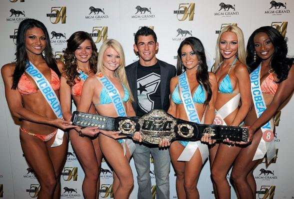 Dominick Cruz and Tropic Beauty Model Search Contestants at Studio 54, Las Vegas