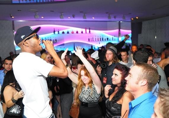 Indie hip-hop artist Donnis entertains the crowd during the one year anniversary of Snitch Wednesdays at ghostbar, April 6