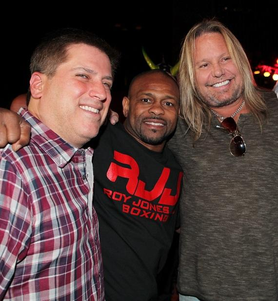 "ESPN anchor Steve Levy with boxing legend Roy Jones Jr. and Motley Crue frontman Vince Neil at ""Knockout Night at the D"" at the Downtown Las Vegas Event Center"