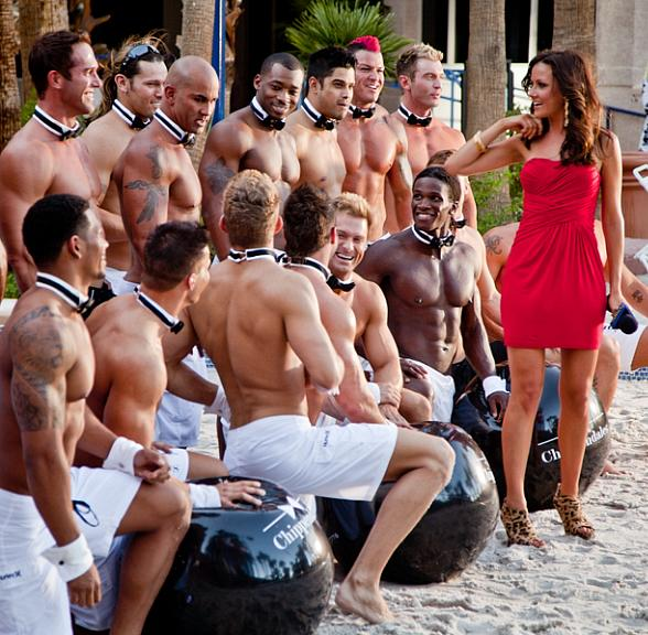 Christina McLarty of THE INSIDER and the Men of Chippendales at the Rio pool