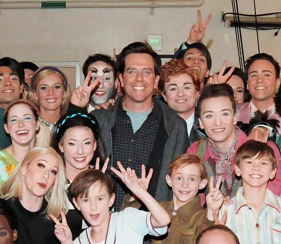 Hangover Actor Ed Helms with cast of The Beatles LOVE by Cirque du Soleil 