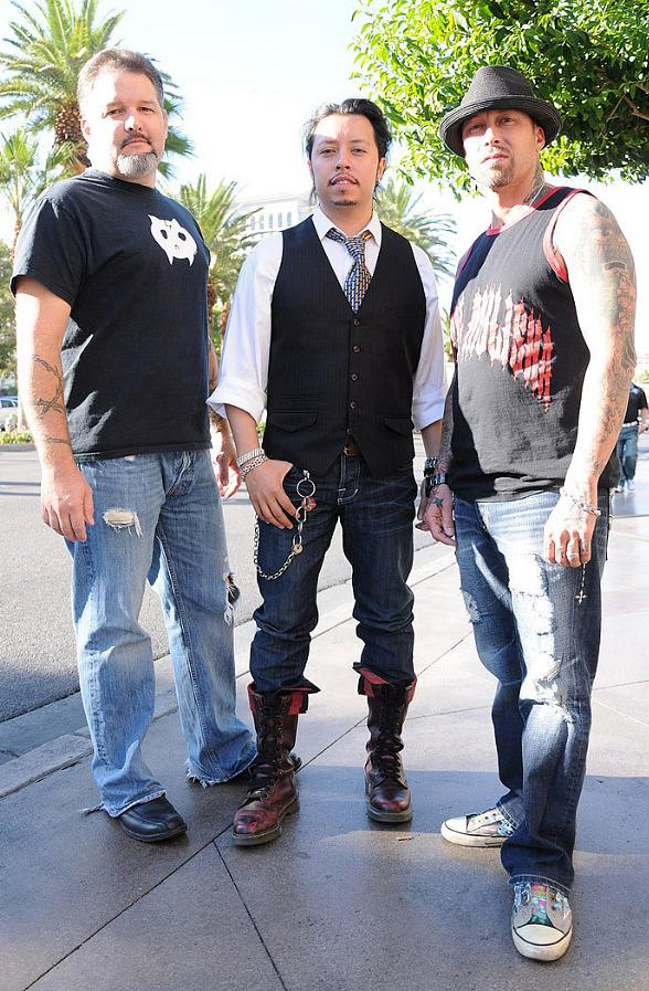 SyFy's Ghost Hunters Star Britt Griffith wearing a Tara Normal Dr. Frankenkitty shirt with Napolean Dynamite Star Efren Ramirez and Sons of Anarchy Star David Dossett