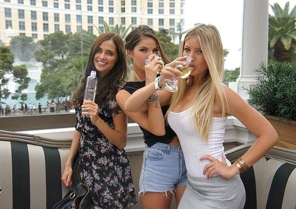 Elite Models Larisa Fraser, Choice Gray and Christie Doolittle at Chateau Beer Garden at Paris Las Vegas
