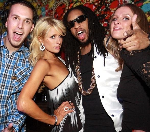 Eric DLux, Paris Hilton, Lil Jon and Nicky Hilton