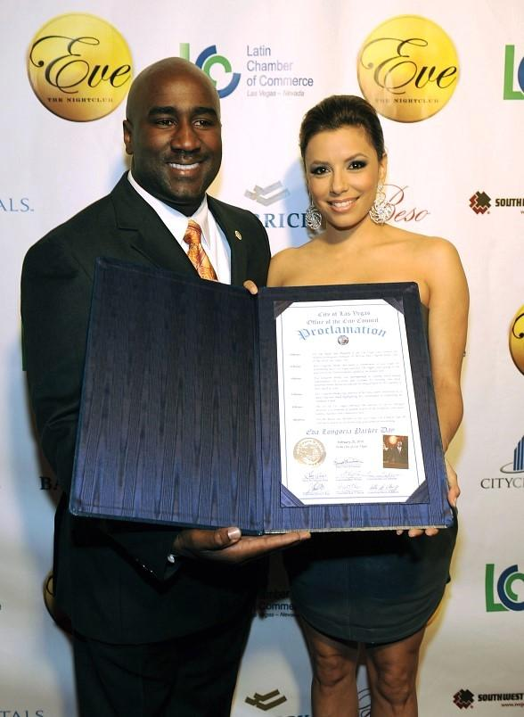 "Eva Longoria Parker is presented proclamation declaring February 20th as ""Eva Longoria Parker Day"" by Las Vegas Councilman Ricky Barlow"