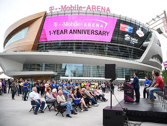 Executives celebrating T-Mobile Arena's first anniversary, April 6