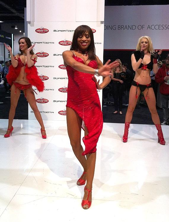 FANTASY Dancers perform at the Cellular Line and SuperTooth Booth at CES