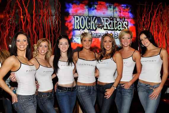 The women of FANTASY inside the brand new Rock & Rita's venue. From left to right Tracey, Mariah, Sonya, Kristen, Jennifer, Lindsay, Yesi.