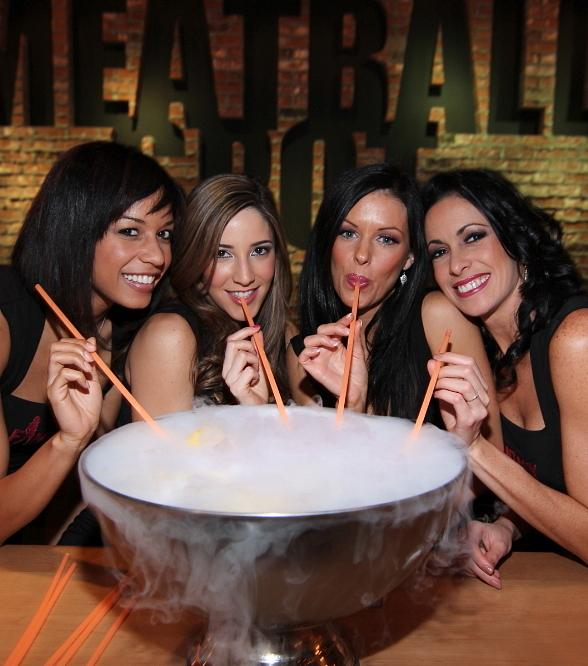 FANTASY sipping on a FANTASY punchbowl at Meatball Spot
