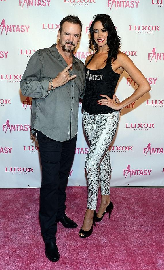 FANTASY's Yesi and husband, Troy Burgess of Rock of Ages, on pink carpet