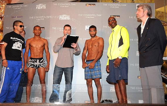 Victor Cayo and Lamont Peterson at weigh-in