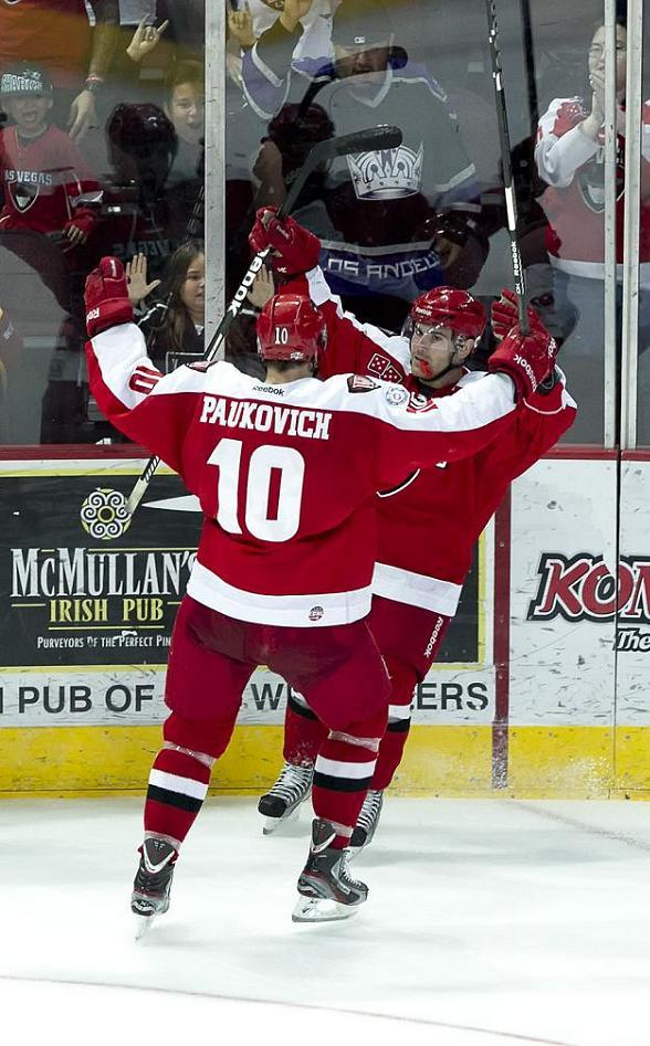 Wranglers center Geoff Paukovich celebrates center Carlo Finucci's unassisted goal
