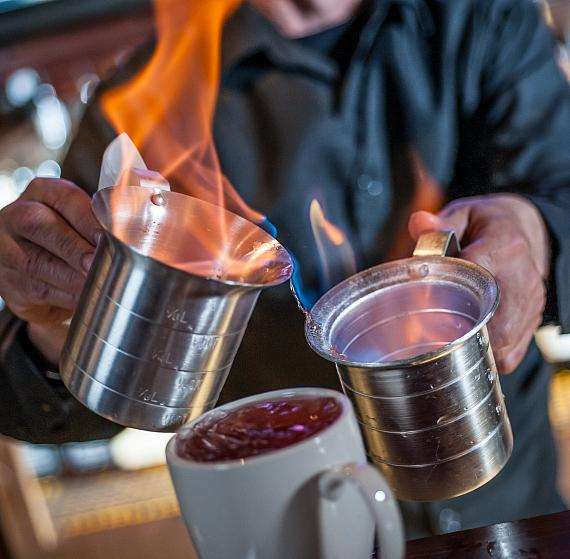 Golden Gate bartender makes a Flaming Sidecar