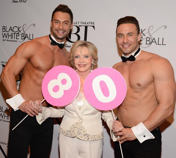 Chippendales dancers James Davis and Ryan Stuart help Florence Henderson celebrate her 80th birthday