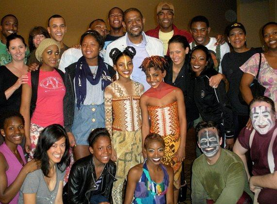 Forest Whitaker, Keisha Nash and daughters Sonnet and True with cast of Disney's THE LION KING at Mandalay Bay