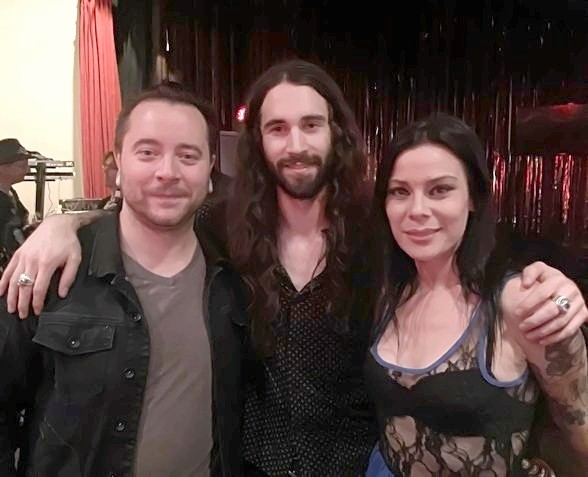 Guitarist Frank Sidoris with Ryan Stock and AmberLynn of Comedian Daredevil