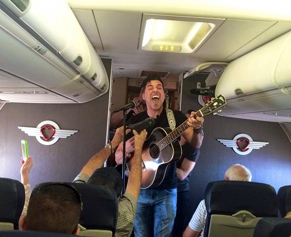 Stratosphere Headliner Frankie Moreno Performs Surprise Inflight Concert on Southwest Airlines
