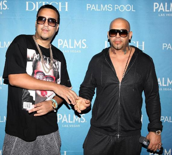"French Montana and Mally Mal shake hands while arriving to ""Ditch Fridays"" pool party at Palms Casino Resort"