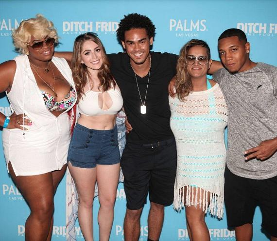 AcE, his girlfriend Rachel and friends pose on the red carpet