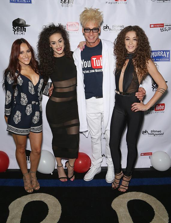 Murray SawChuck with the ladies of Gar Entertainment at his 100,000 YouTube Silver Creator Award Party in Las Vegas