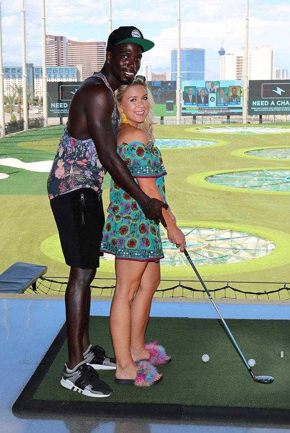 "Gabby and Marcel from UK's Hit Show ""Love Island"" Visit Topgolf Las Vegas"