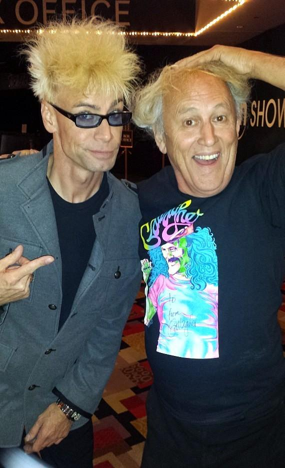 Murray SawChuck and Gallagher backstage at Murray 'Celebrity Magician' Show at Planet Hollywood in Las Vegas