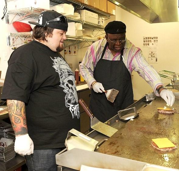 Chumlee and George Wallace cook at Smashburger
