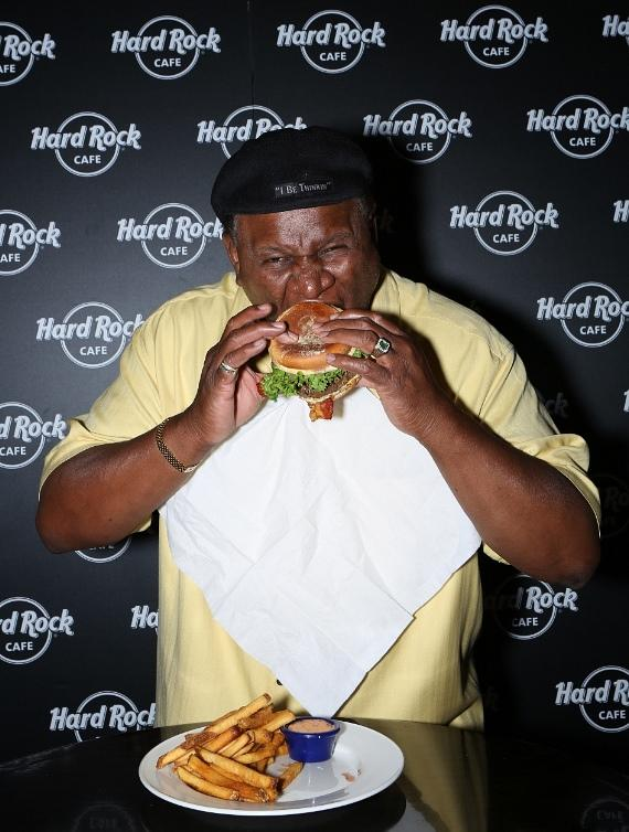 George Wallace enjoying The Hangover Burger