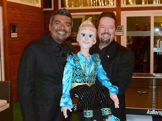 George Lopez, Terry Fator and Berry Fabulous, the newest cast member of Terry Fator: Ventriloquism in Concert backstage last night at TBS popular late-night talk show, Lopez Tonight