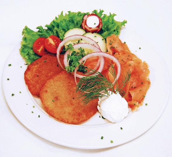 German Potato Pancakes with smoked salmon