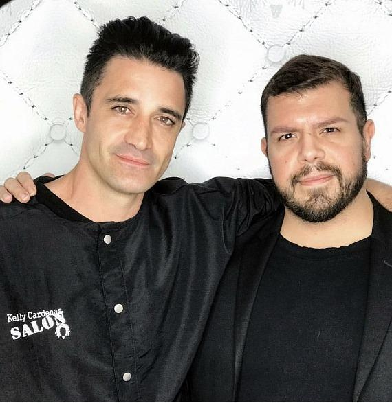 Gilles Kelly and Hairdresser Salvador Rubio at Kelly Cardenas Salon in Las Vegas