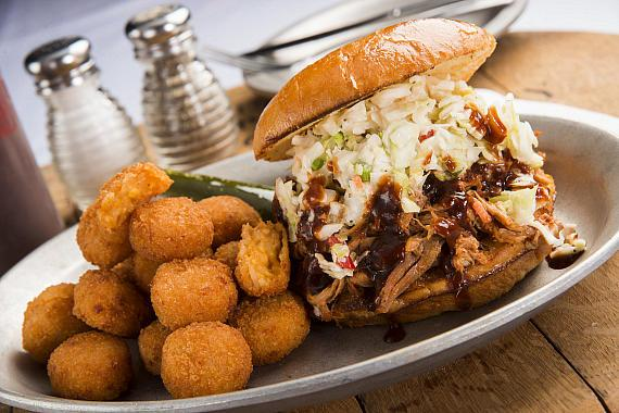 Gilley's BBQ Pulled Pork Sandwich and Chipotle Cheddar Tater Tots