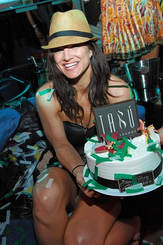 Gina Carano with birthday cake at Tabu Ultra Lounge