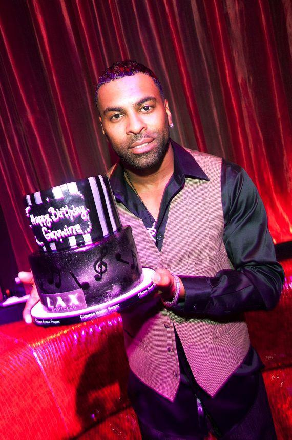 Ginuwine with birthday cake at LAX Nightclub in Las Vegas