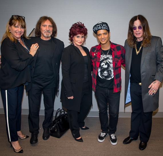 Gloria Butler, Terry Butler, Sharon Osbourne, Bruno Mars and Ozzy Osbourne at The Cosmopolitan