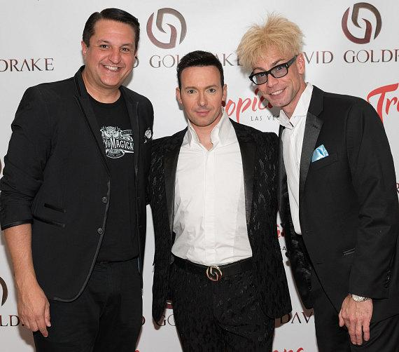 """Magician David Goldrake (center) with Planet Hollywood headliners Douglas """"Lefty"""" Leferovich and Murray SawChuck"""