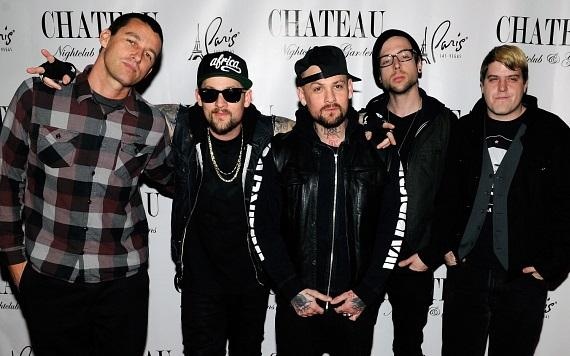 Good Charlotte on the red carpet at Chateau Nightclub & Gardens at Paris Las Vegas. (L-R: Dean Butterworth, Joel Madden, Benji Madden, Billy Martin, Paul Thomas)