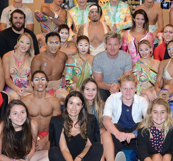 Gordon Ramsay and his family with the cast of Mystere by Cirque du Soleil
