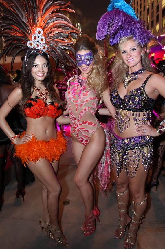 Gorgeous partygoers are all smiles at Midsummer Lingerie Masquerade bash