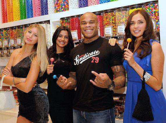 Choice Gray, Gio Ott and Larisa Fraser with MMA fighter, Gilbert Yvel with Couture Pops at Sugar Factory