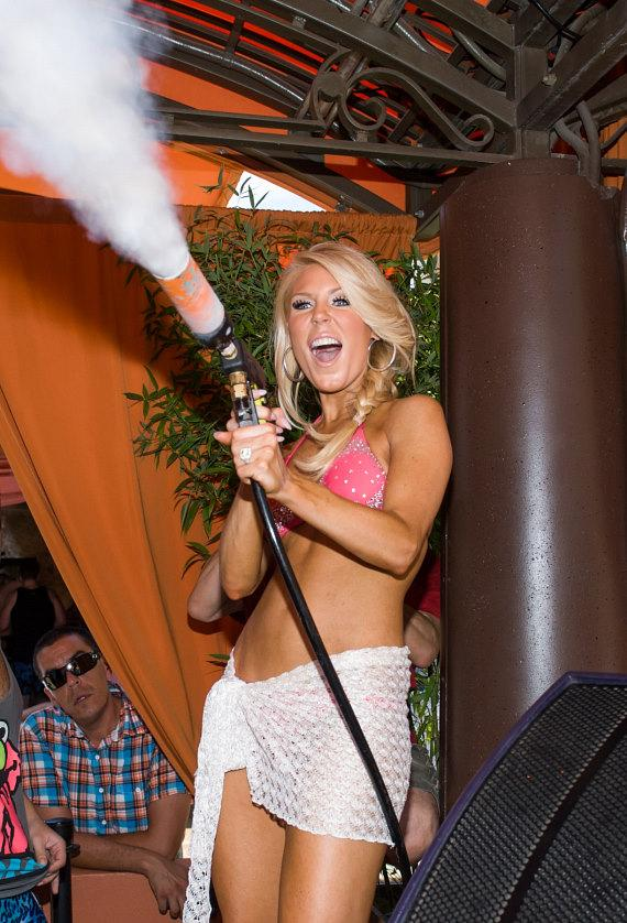 Gretchen Rossi cools off the crowd at TAO Beach