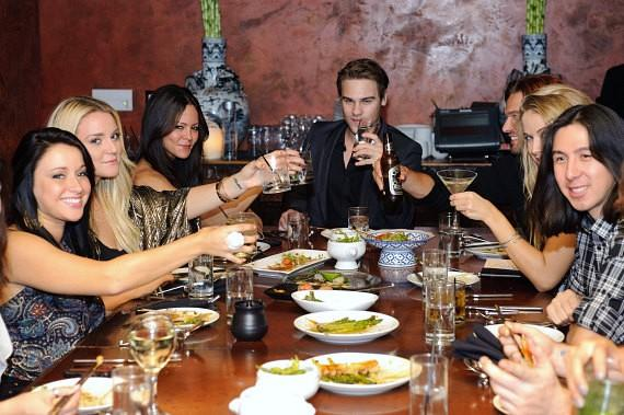Grey Damon center with Allison Melnick and friends