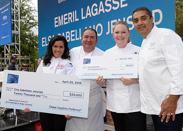 Grill Challenge Turns up the Heat with Celebrity Chefs Emeril Lagasse and Michael Mina during Vegas Uncork'd by Bon Appétit
